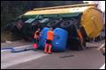 Vrachtwagen met gerst gekanteld op Belgische E34 [+video]