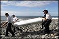 Chinees waterflesje aangespoeld op Réunion
