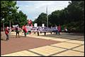 Protest buschauffeurs bij provinciehuis Assen