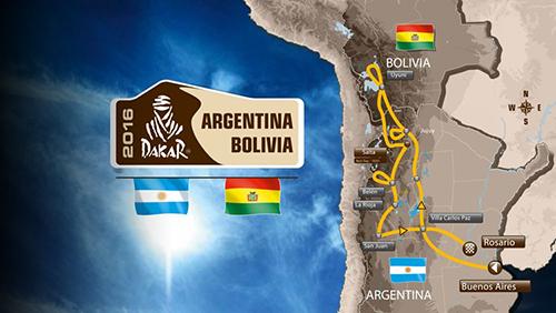 Dakar 2016 door Bolivia en Argentinië