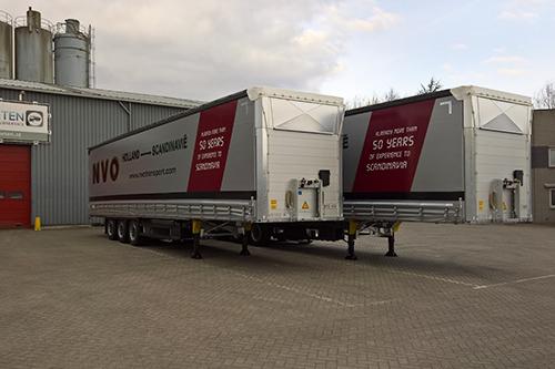 Twee nieuwe MEGA schuifzeilopleggers voor NVO Transport