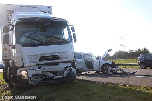 Automobilist alsnog overleden na kettingbotsing A50