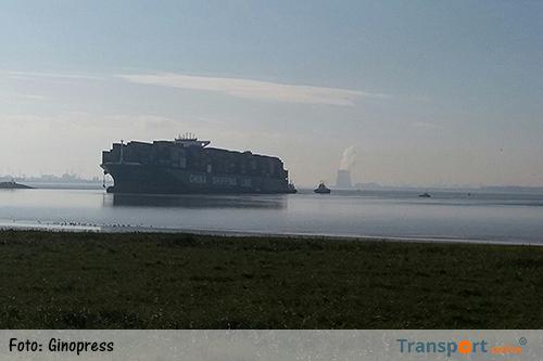 Containerschip CSCL Jupiter vastgelopen op Westerschelde [+foto]