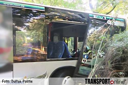 Volle lijnbus rijdt zonder chauffeur bos in