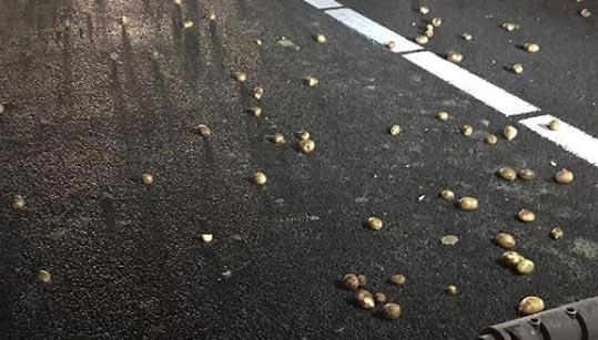 Vrachtwagen verliest aardappelen na hard remmen op de A50 [+foto&video]