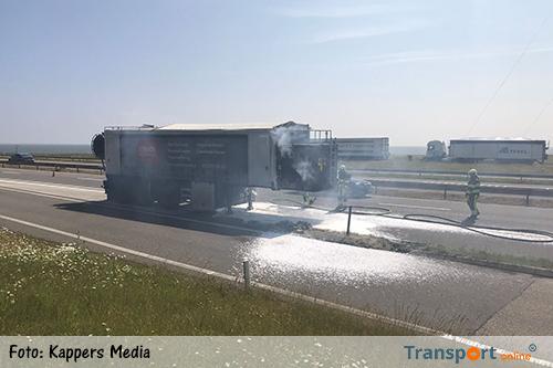 Vrachtwagentrailer in brand op de Afsluitdijk [+foto]