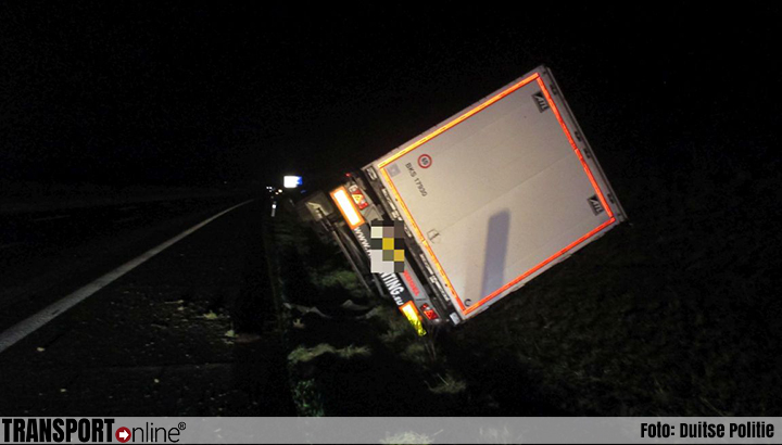 Dronken Bulgaar in Nederlandse vrachtwagen van de weg langs Duitse A4 [+foto]