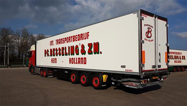 3-assige Kögel koeloplegger voor P.C. Besseling Int Transport B.V.