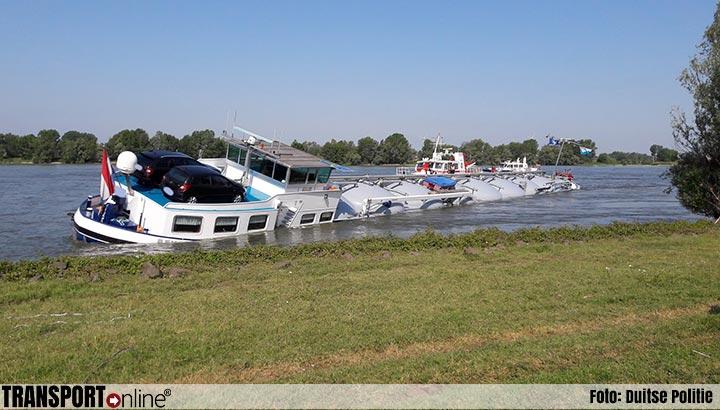 Nederlands binnenvaartschip bijna gezonken op de Rijn [+foto]