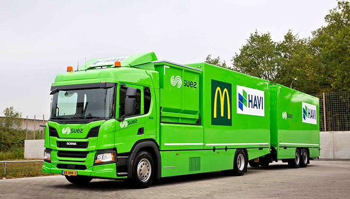 SUEZ, HAVI en Scania slaan handen ineen voor verduurzaming van de logistieke activiteiten bij McDonalds