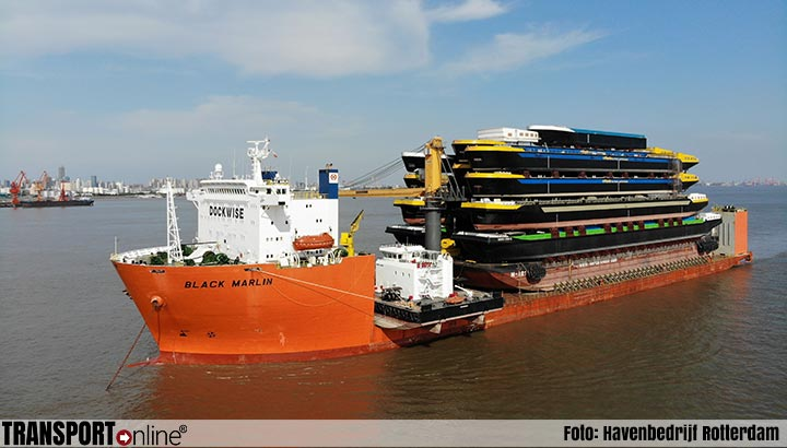 Black Marlin komt maandag 12 augustus aan in Rotterdam met 18 binnenvaartcasco's