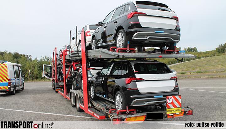 Duitse politie haalt autotransporter met versleten banden van A6 [+foto's]