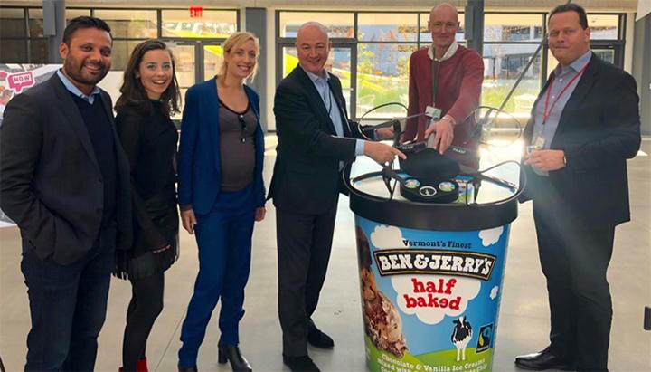 Terra Drone Europe en Unilever testen bezorgdiensten met drones voor het populaire ijsmerk 'Ben & Jerry's' van Unilever