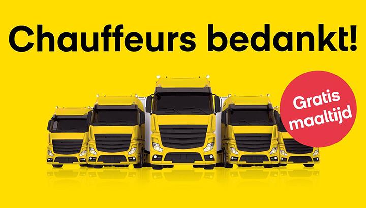 Actie: Gratis avondmaaltijd voor  vrachtwagenchauffeurs in heel Nederland