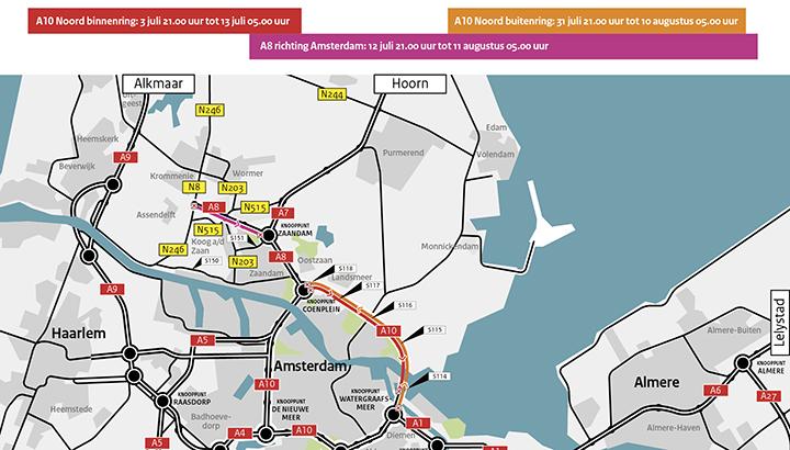 A10 Noord en A8 Zaanstad afgesloten voor groot onderhoud van 3 juli tot en met 11 augustus