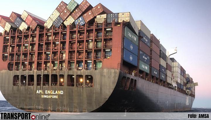 Containers van containerschip de 'APL England' slecht gesjord [+foto's]