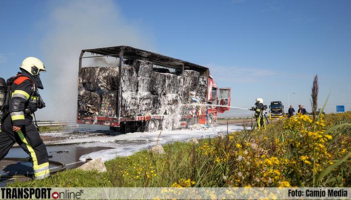 Vrachtwagen met papier in brand op A7 [+foto]