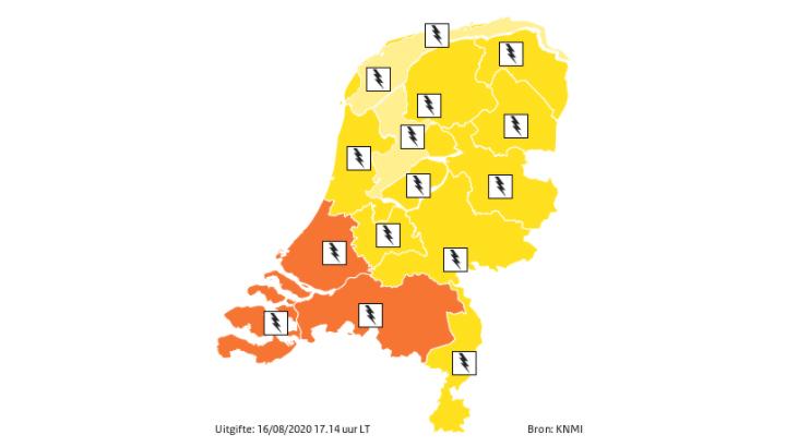 Kans op gevaarlijk of extreem weer in aantal provincies