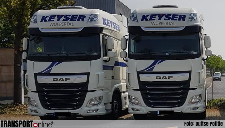 Dieven stelen twee DAF-trekkers van Keyser Transporte uit Wuppertal