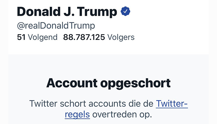 Twitter blokkeert Trump permanent vanwege risico op aanzetten tot geweld