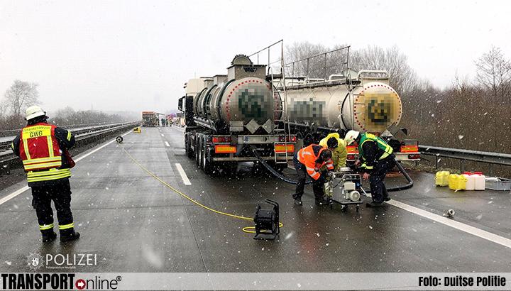 Lekkende tankwagen zorgt voor urenlange afsluiting Duitse A6 [+foto's]