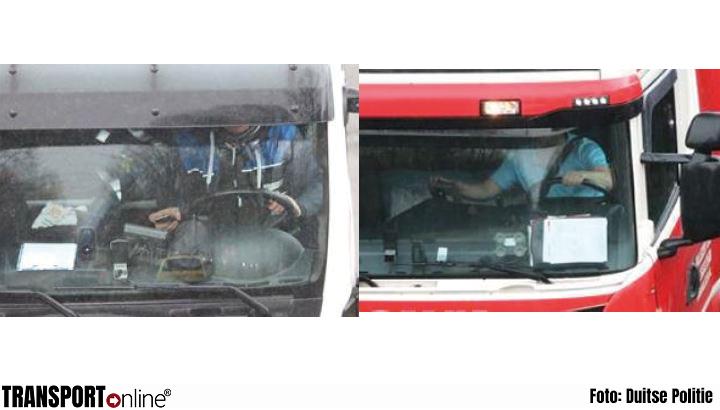 Vrachtwagenchauffeurs bleken druk met telefoon tijdens 'brugcontrole' [+foto's]