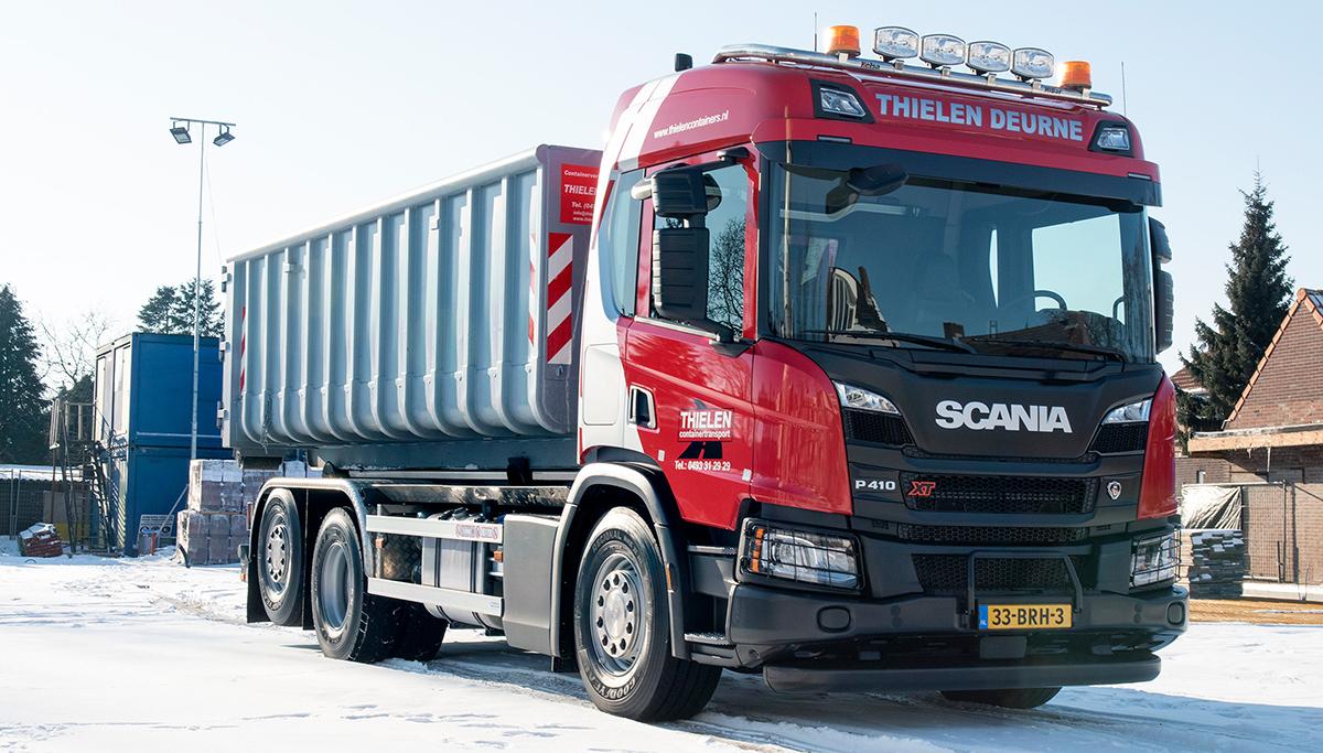 Nieuwe Scania P410 containerwagen voor Thielen Containertransport