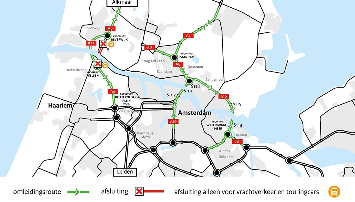 Vanaf vrijdag tijdelijk geen vrachtverkeer en touringcars door de Wijkertunnel (A9)